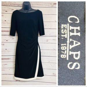 Chaps Stretch Faux Wrap Pullover Dress